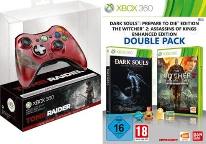 XB360 Controller Tomb Raider + 2in1 Pack Witcher 2 + Darksouls