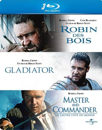Coffret Russell Crowe - Robin des Bois / Gladiator / Master and Commander (Steelbook, 3 Blu-rays)