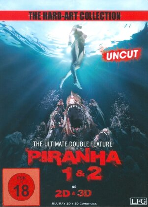 Piranha 1 & 2 - The Ultimate Double Feature (The Hard-Art Collection, Cover B, Limited Edition, Mediabook, Uncut, 2 Blu-ray 3D (+2D))