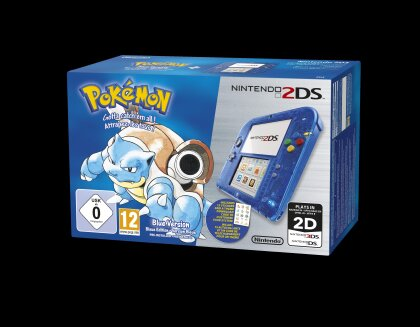 2DS Blau Transparent + Pokemon Blaue Edition