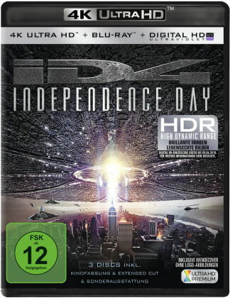 Independence Day (1996) (Extended Cut, Kinoversion, 4K Ultra HD + 2 Blu-rays)