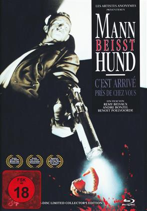 Mann beisst Hund (1992) (Cover A, s/w, Limited Collector's Edition, Mediabook, Blu-ray + DVD)