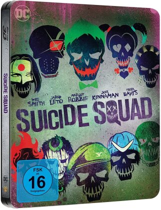 Suicide Squad (2016) (Extended Edition, Kinoversion, Limited Edition, Steelbook, Blu-ray 3D + 2 Blu-rays)