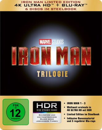 Iron Man Trilogie (Limited Edition, Steelbook, 3 4K Ultra HDs + 3 Blu-rays)