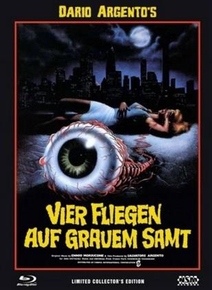 Vier Fliegen auf grauem Samt (1971) (Cover C, Collector's Edition, Limited Edition, Mediabook, Uncut, Blu-ray + 2 DVDs)