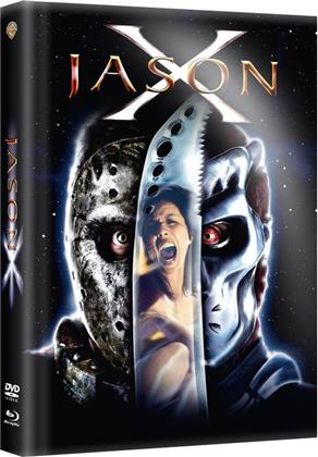 Jason X (2001) (Wattiert, Limited Edition, Mediabook, Uncut, Blu-ray + DVD)