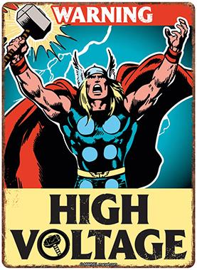 Thor Blechschild - Warning High Voltage