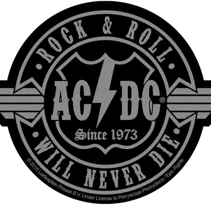 AC/DC Standard Patch - Rock N Roll Will Never Die Cut-Out (Loose)
