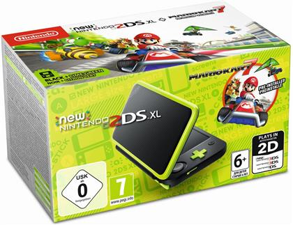 New Nintendo 2DS XL black/apple green incl. Mario Kart 7