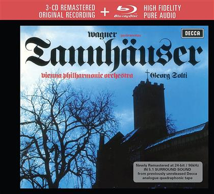 Richard Wagner (1813-1883), Sir Georg Solti & Wiener Philharmoniker - Tannhäuser - Blu-ray Pure Audio (Limited Edition, 3 CDs + Blu-ray)