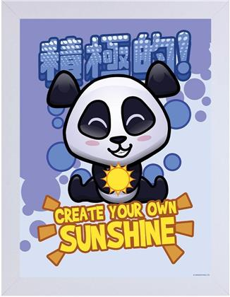 Handa Panda - Create Your Own Sunshine - White Wooden Framed Print