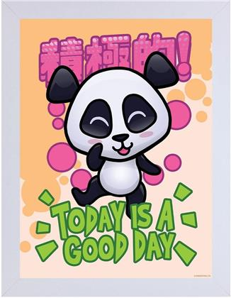 Handa Panda - Today Is A Good Day - White Wooden Framed Print