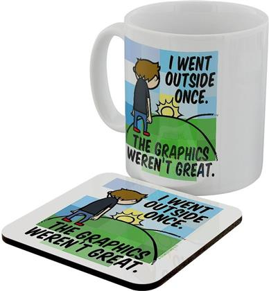 I Went Outside Once - The Graphics Weren't Great - Mug & Coaster Set