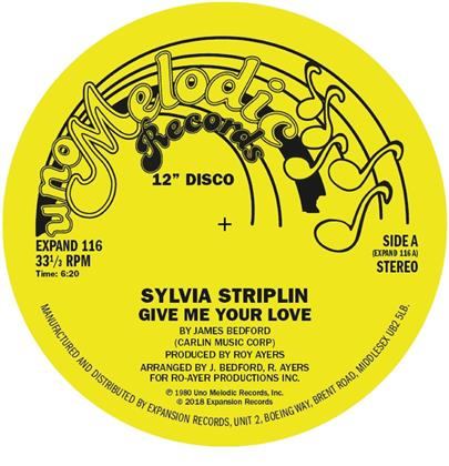"Sylvia Striplin - Give Me Your Love / You Can't Turn Me Away (2018 Reissue, 7"" Single)"