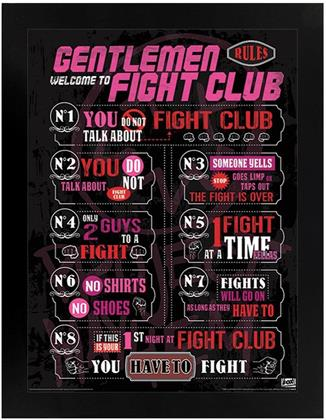 Fight Club - The Rules - Black Wooden Framed Poster