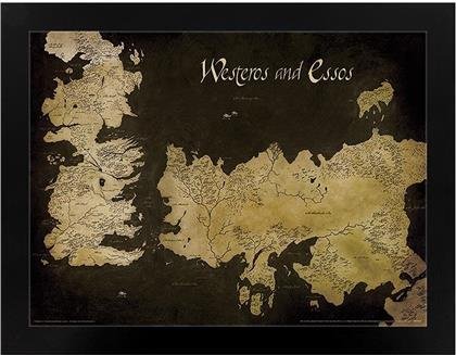 Game of Thrones - Westeros And Essos Antique Map - Black Wooden Framed Poster