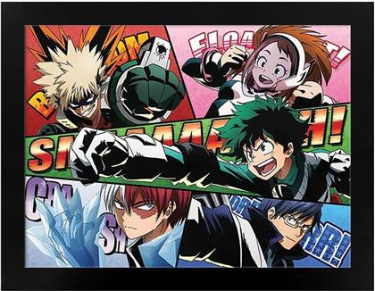 My Hero Academia - Comic Action - Black Wooden Framed Poster