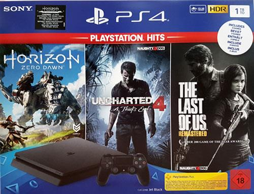 Sony Playstation 4 1TB SLIM Bundle+ 3 Games (CUH-2216B F-Chassis) - (Uncharted 4/ Last of Us/ Horizon Zero Dawn)