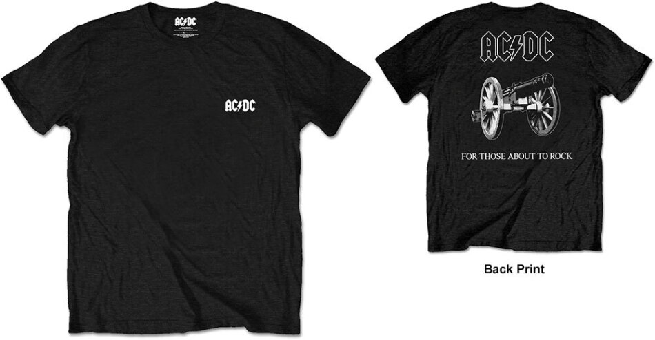 AC/DC Unisex Tee - About To Rock (Back Print/Retail Pack) - Grösse M
