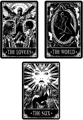 Deadly Tarot - The World, The Sun & The Lovers - Small Tin Sign Set