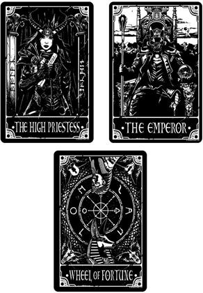 Deadly Tarot - The High Priestess, The Emperor & The Wheel of Fortune - Small Tin Sign Set