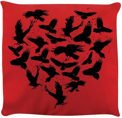Raven Heart - Red Cushion