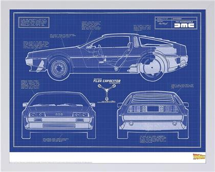 Back To The Future - Delorean Blue Print - Framed Limited Edition Numbered Print