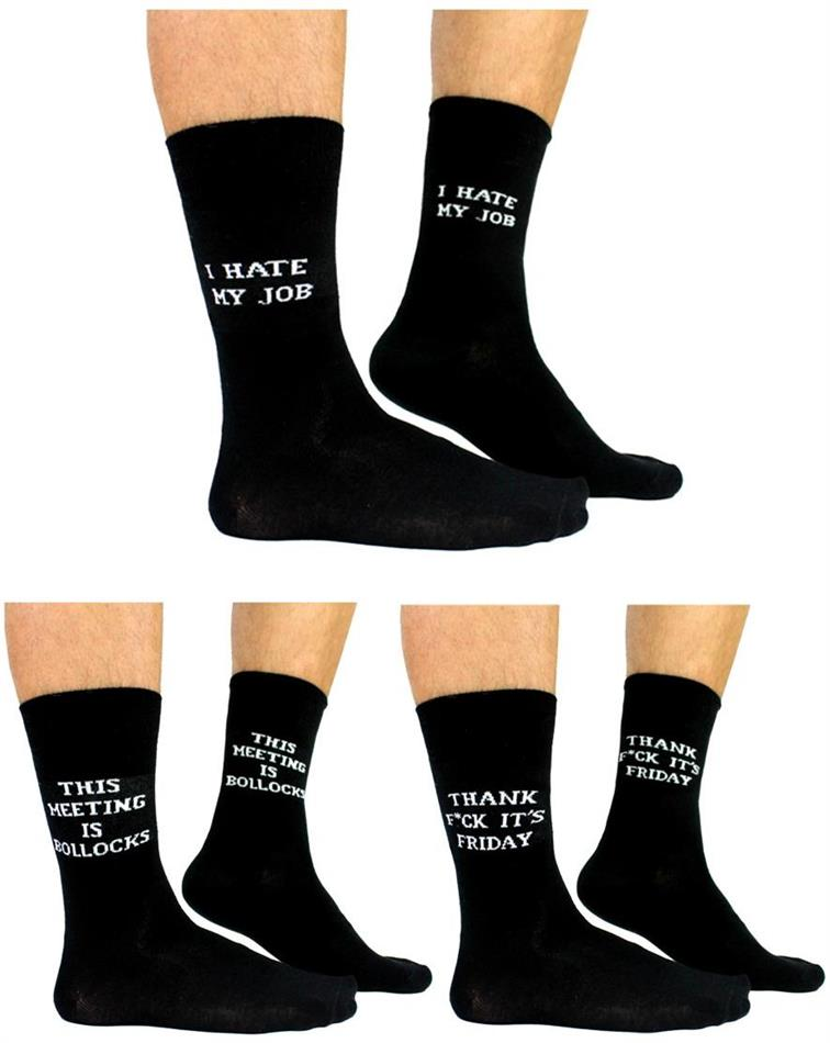 Men's Novelty Sock Gift Pack - 3 Pairs Of Cheeky Office Socks