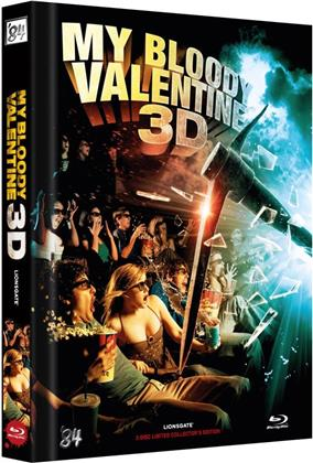 My Bloody Valentine 3D (2009) (Cover C, Collector's Edition Limitata, Mediabook, Uncut, Blu-ray 3D (+2D) + DVD)