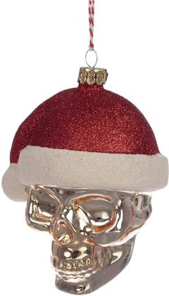 Skull In Santa Hat Glass Christmas Bauble Decoration