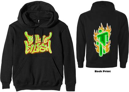 Billie Eilish Unisex Pullover Hoodie - Airbrush Flames Blohsh (Back Print)