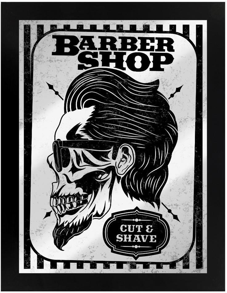 Barber Shop Cut & Shave - Framed Mirrored Tin Sign